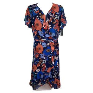 Lane Bryant  Blue Floral  Belted Choffon Dress